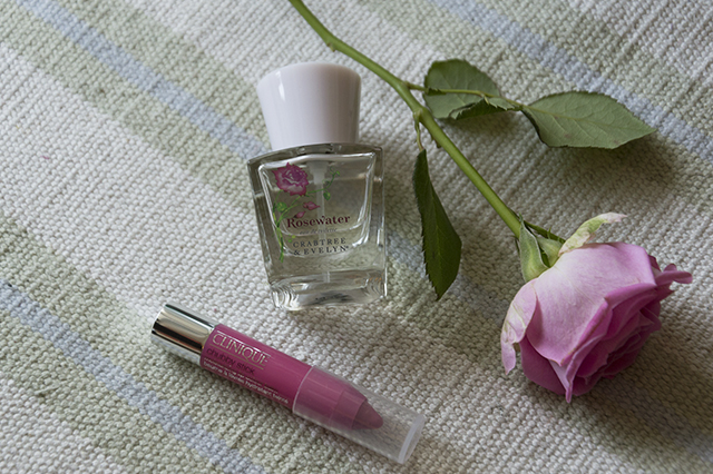 Details: Rosewater by Crabtree and Evelyn, Chubby stick by Clinique