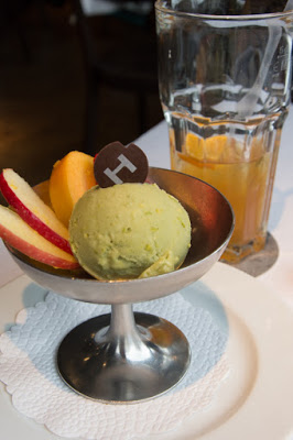 Birthday meal at the Hiltl: Pistachio-Matcha Vegan Ice Cream