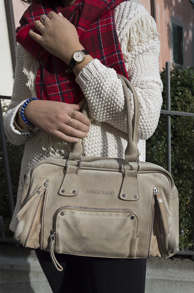 Details: Longchamp handbag, Orion watch, Manidou bracelet, H&M rings