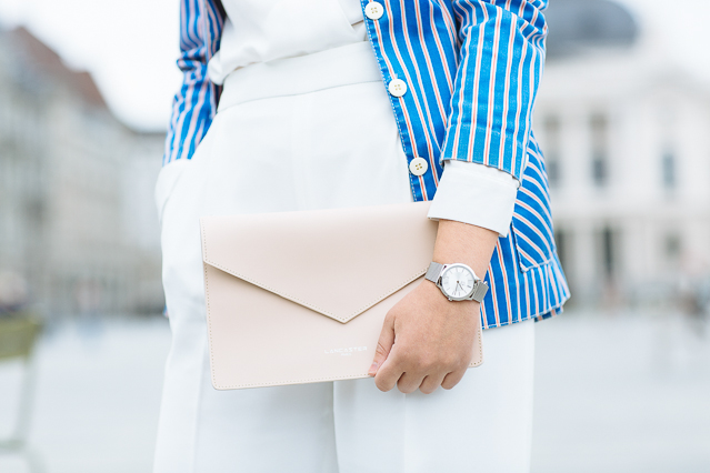 Details: Lancaster clutch in Nude Clair and Calvin Klein watch