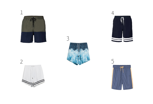 Selection of swimsuits for men, Summer 2016