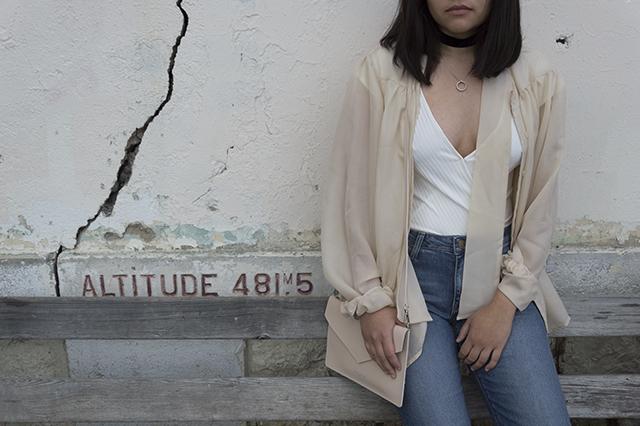Details: Lee jeans; Zara bodysuit; Lancaster clutch; Twirly Trinkets velvet choker; vintage blouse