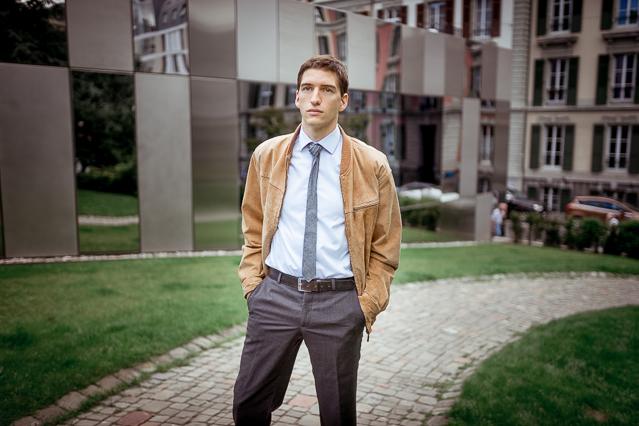 Nicolas wearing a Carpasus shirt, a vintage suede leather jacket, Avant Première suit pants and a COS tie