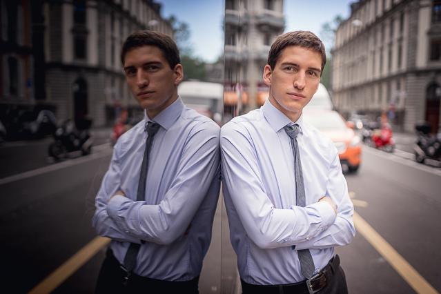 Nicolas wearing a Carpasus shirt, Avant Première suit pants and a COS tie