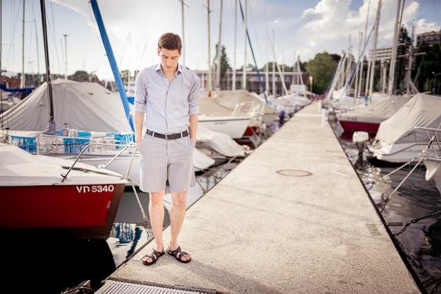 Nicolas wearing a Carpasus shirt, H&M shorts and sandals