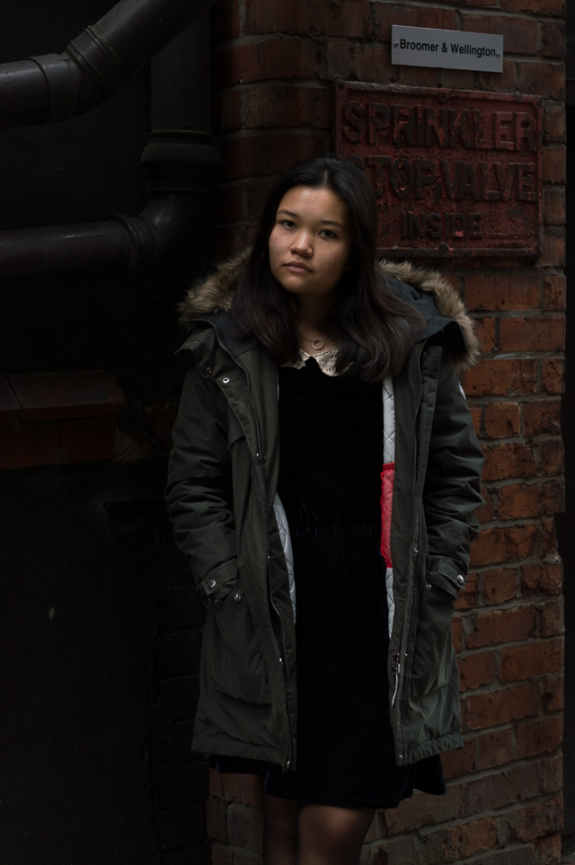 Claire in Manchester, wearing a Didriksons parka