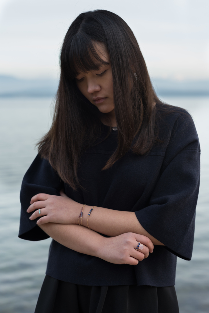 Claire Ketterer wearing Oxalyde jewellery