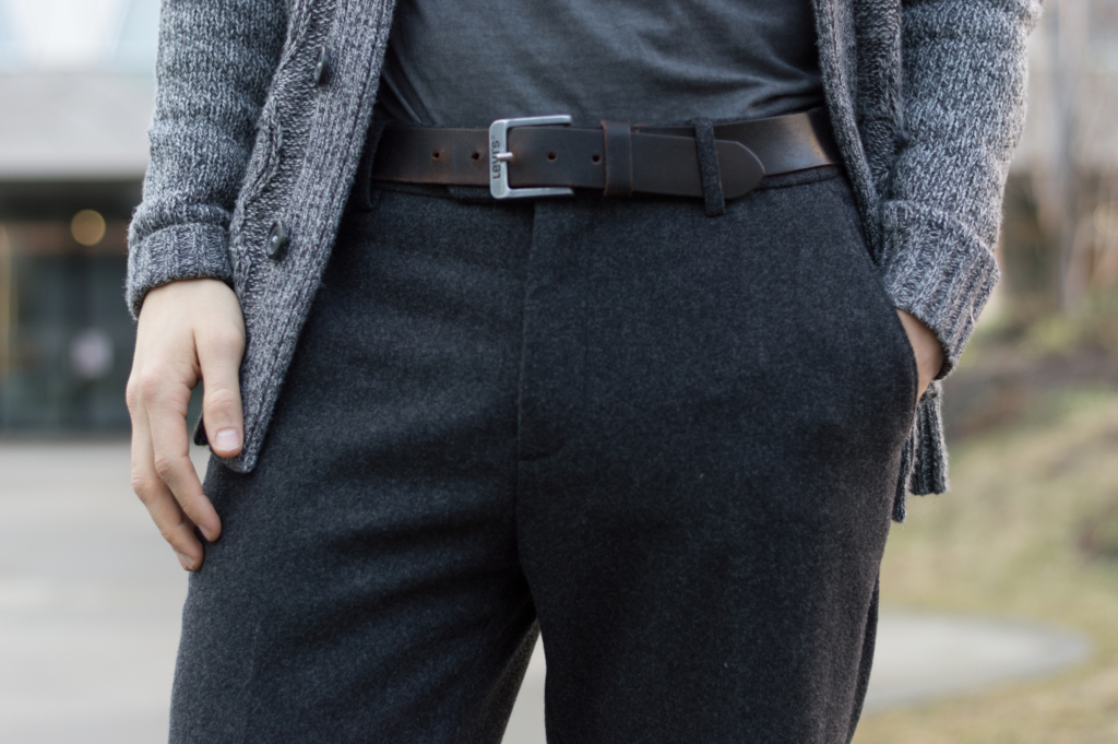 Nicolas' wool trousers and a Levi's belt
