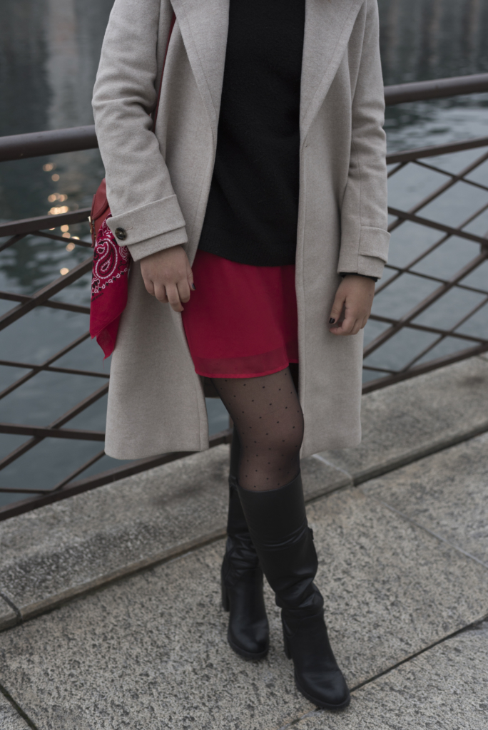 Details: Caroll coat, & other stories sweater, a red dress, polka dots tights and Graceland boots