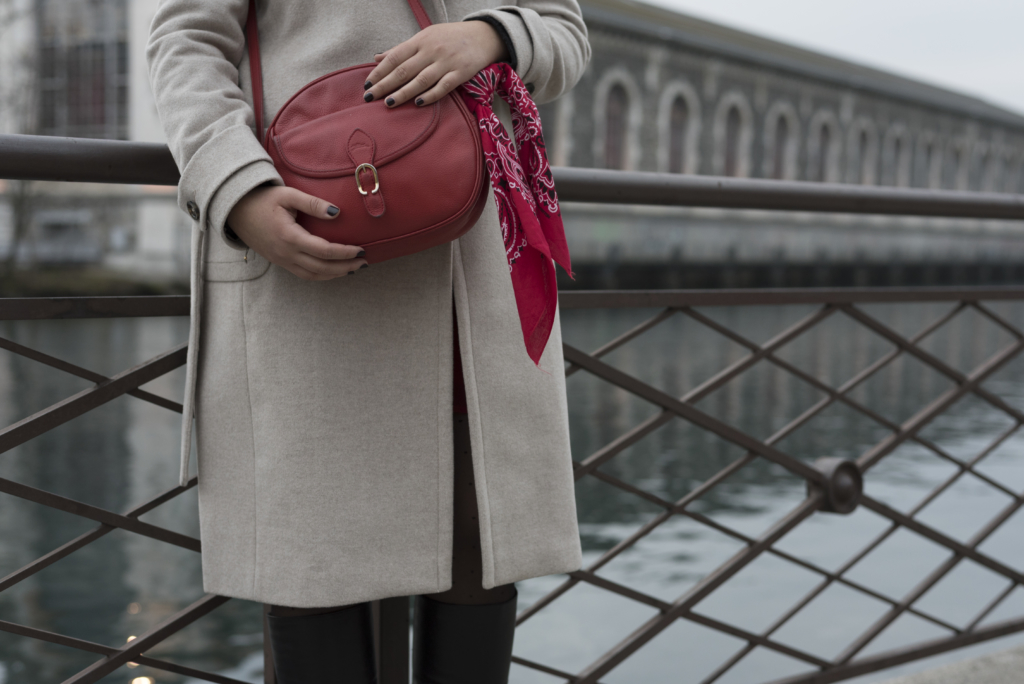 Details: Caroll coat and a red Longchamp bag