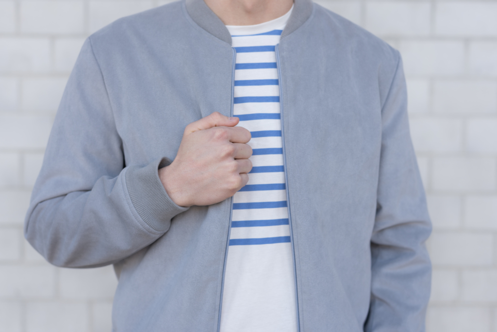 Details: a bomber and a striped t-shirt by Solstice