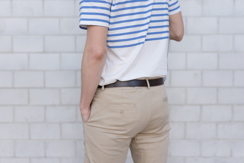 Details: a striped t-shirt and chino pants by Solstice
