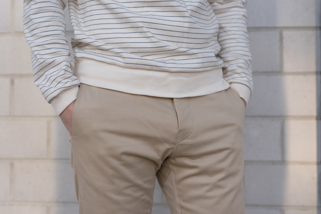 Details: a striped sweatshirt and chino pants by Solstice
