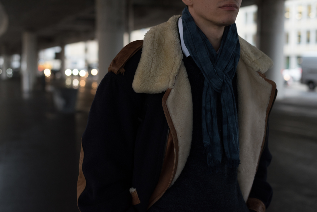 Details: vintage bomber and blue camo scarf by Wrangler