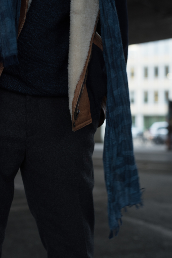 Details: scarf by Wrangler and wollen pants by H&M