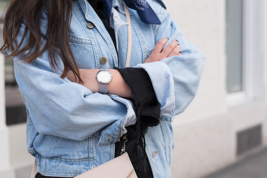 Details: a vintage jeans jacket, a blue bandana, a Calvin Klein watch and a And Other Stories top