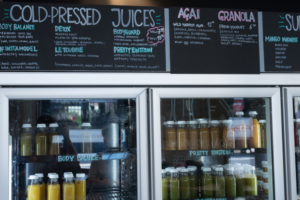 Fresh juices and menu at Green Gorilla Café