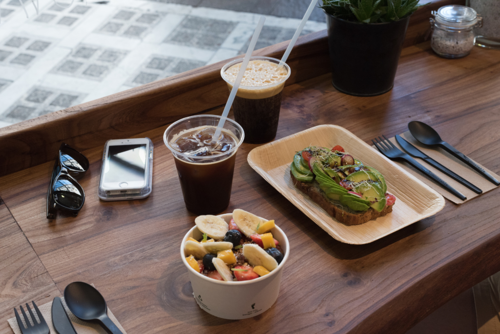 Açai bowl, avocado toast and cold brews at Green Gorilla Café