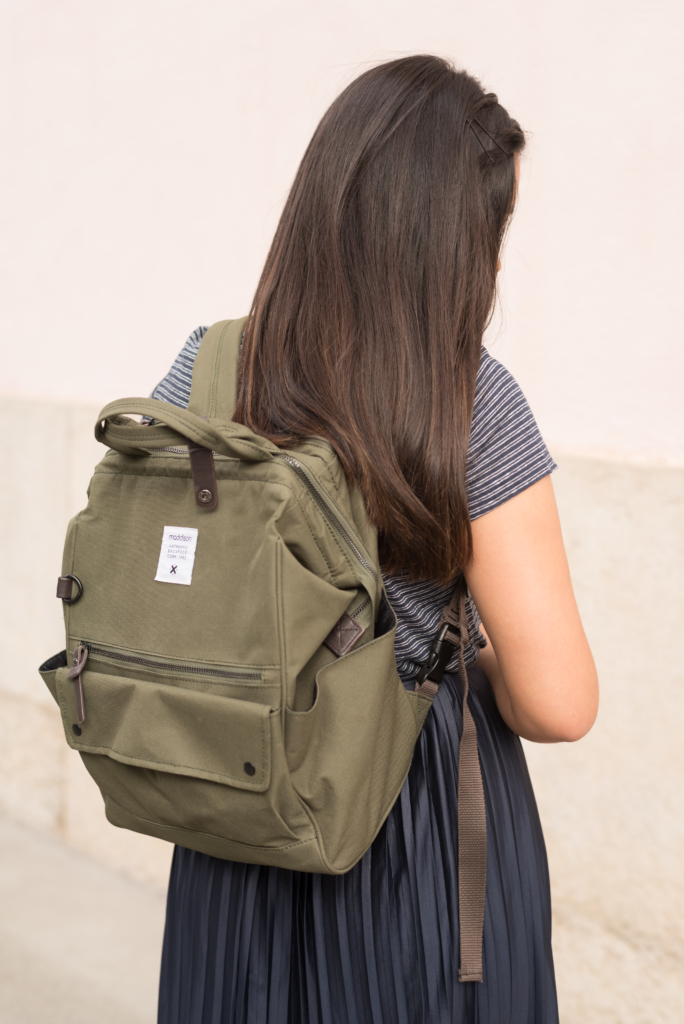 A khaki backpack by Manor