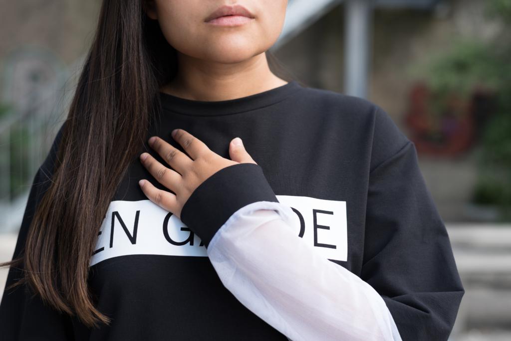 Claire Ketterer wearing Joy + Grief's En Garde collection