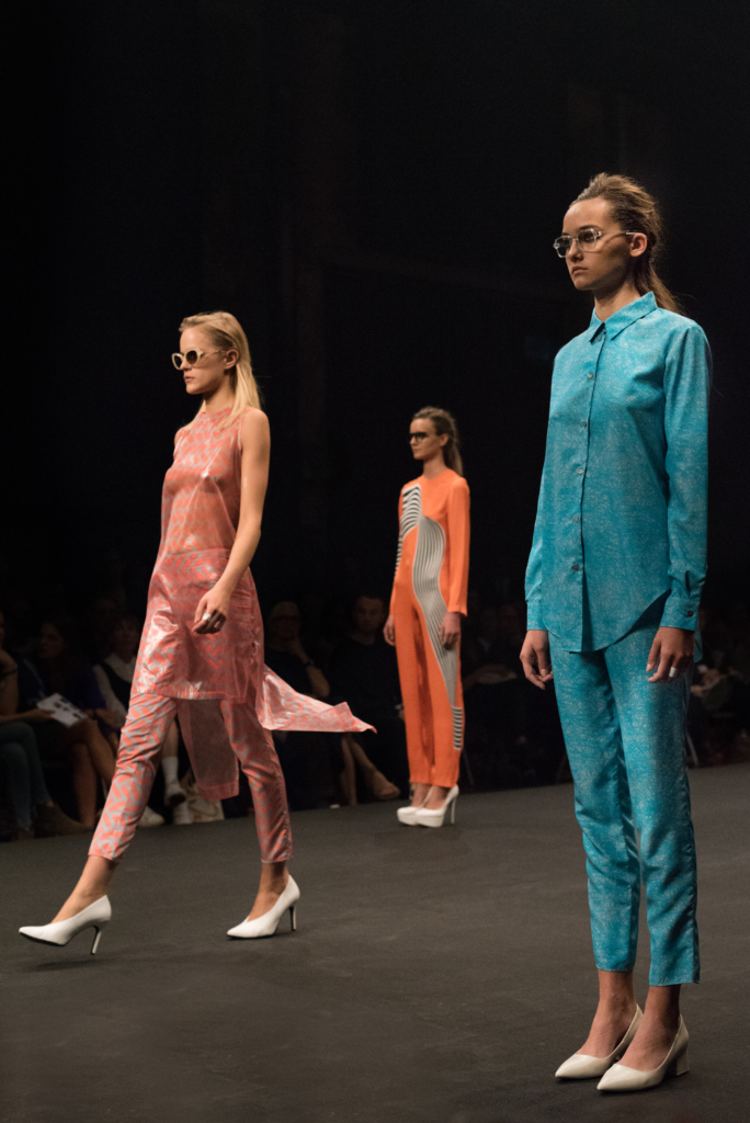 Ladina Steinegger feat. SOL SOL ITO collection during the catwalk at Mode Suisse