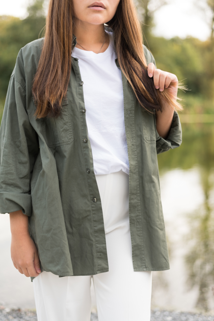 Claire Ketterer wearing a white and khaki look