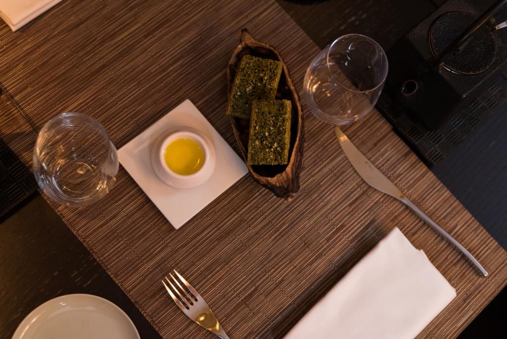 Seaweed and green tea-flavoured foccacia