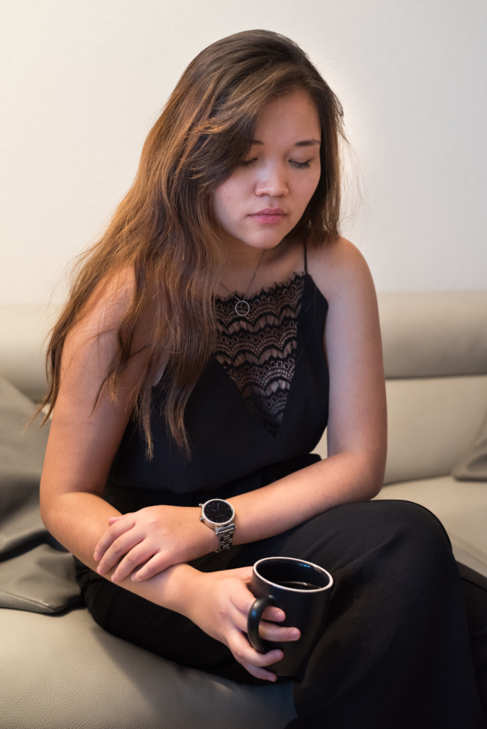 Claire Ketterer wearing a smartwatch