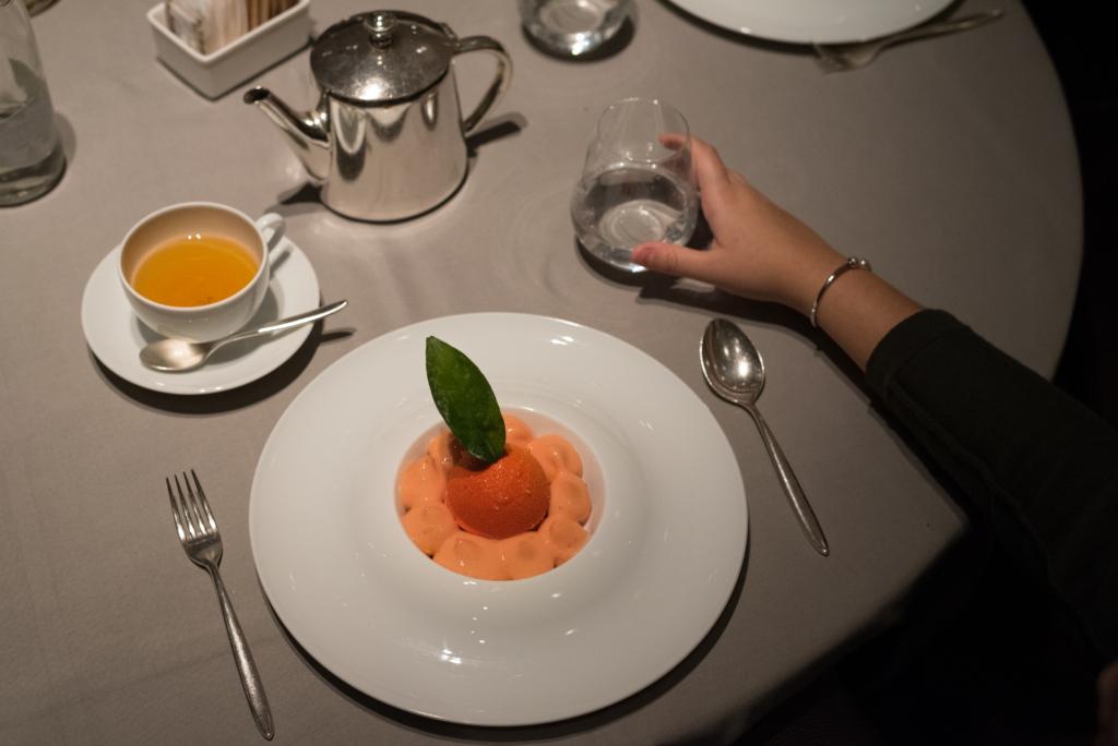 Signature dessert from our pastry chef Sébastien Quazzola – The Blood Orange Melting praline-hazelnut heart at Le Jardin