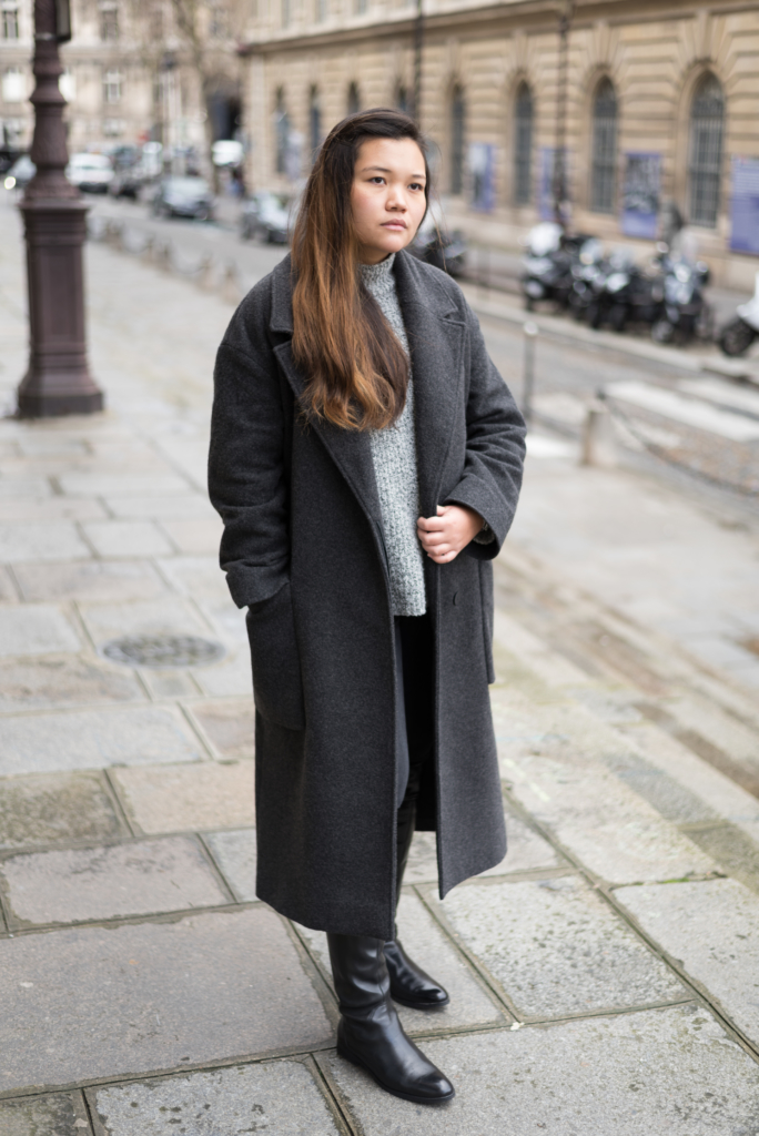 Winter look by Claire Ketterer in neutral tones