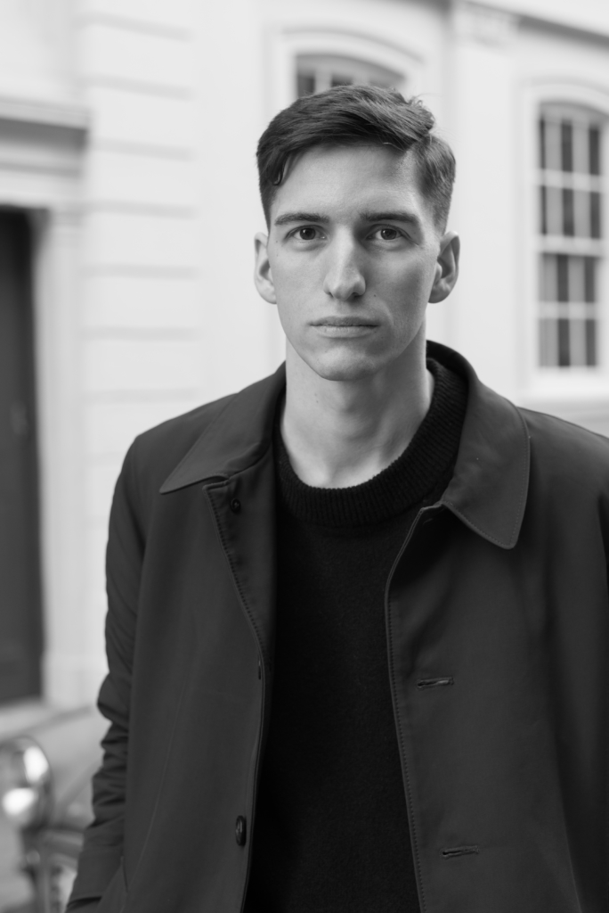 Black and white portrait of Nicolas Moser in London