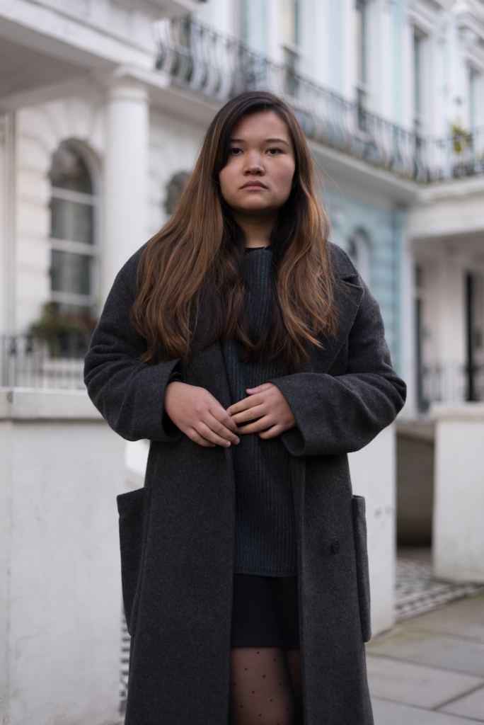 Claire Ketterer wearing dark tones in Notting Hill, London