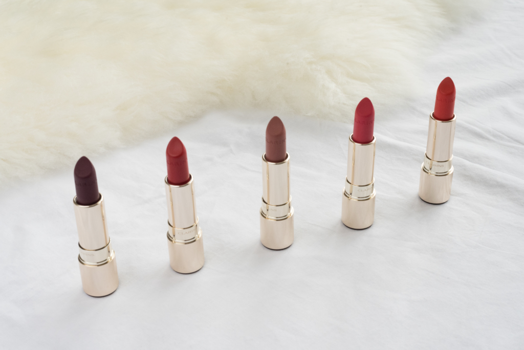 Five shades from the new matte range the Joli Rouge Velvet by Clarins