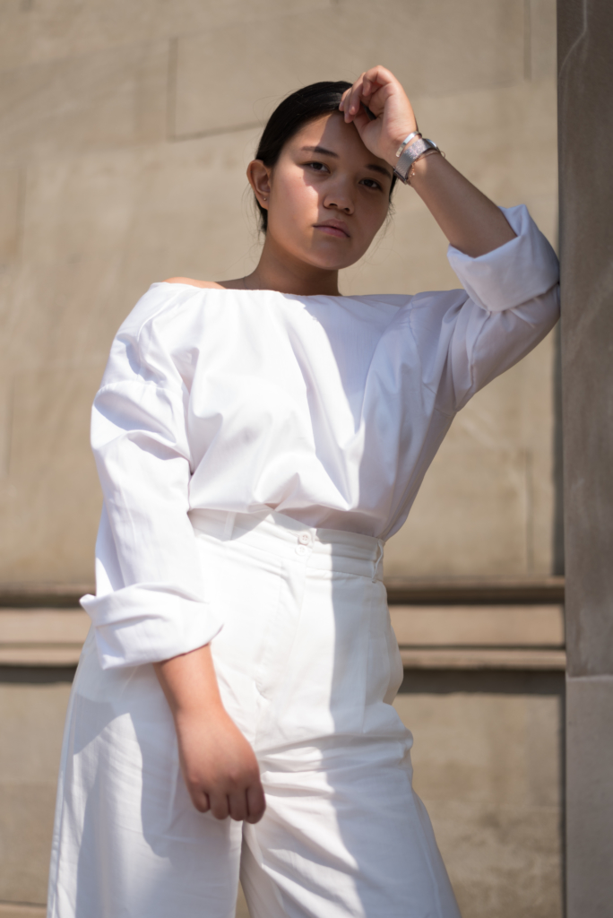 Claire Ketterer featuring a minimal all white outfit