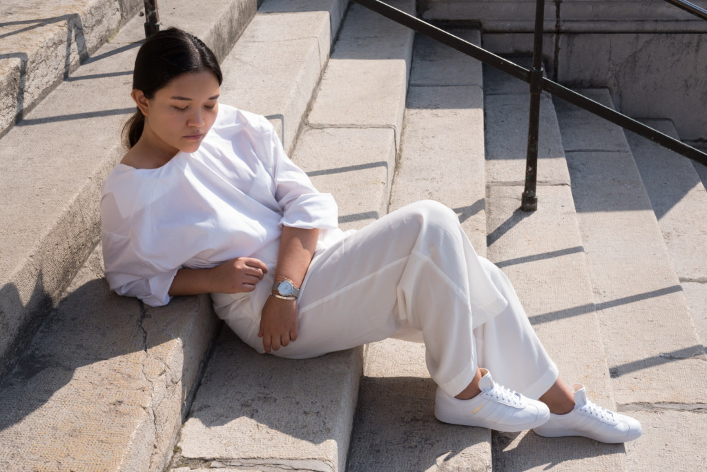 Claire featuring a minimal all white outfit