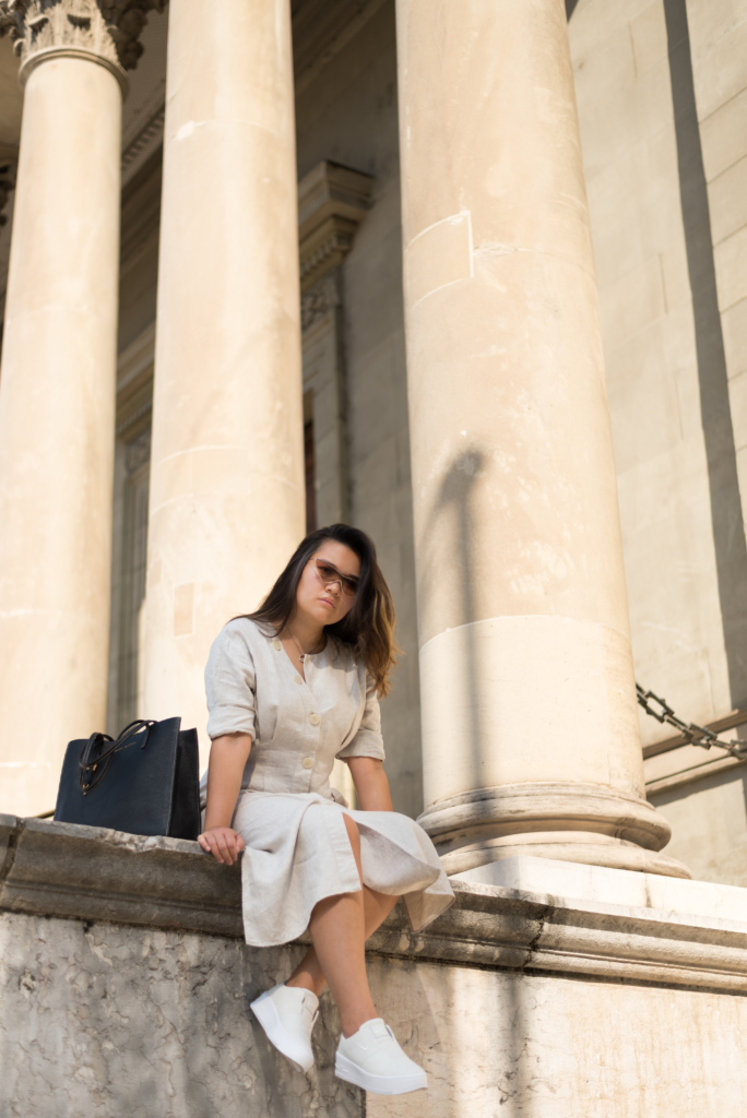 Claire Ketterer in front of columns