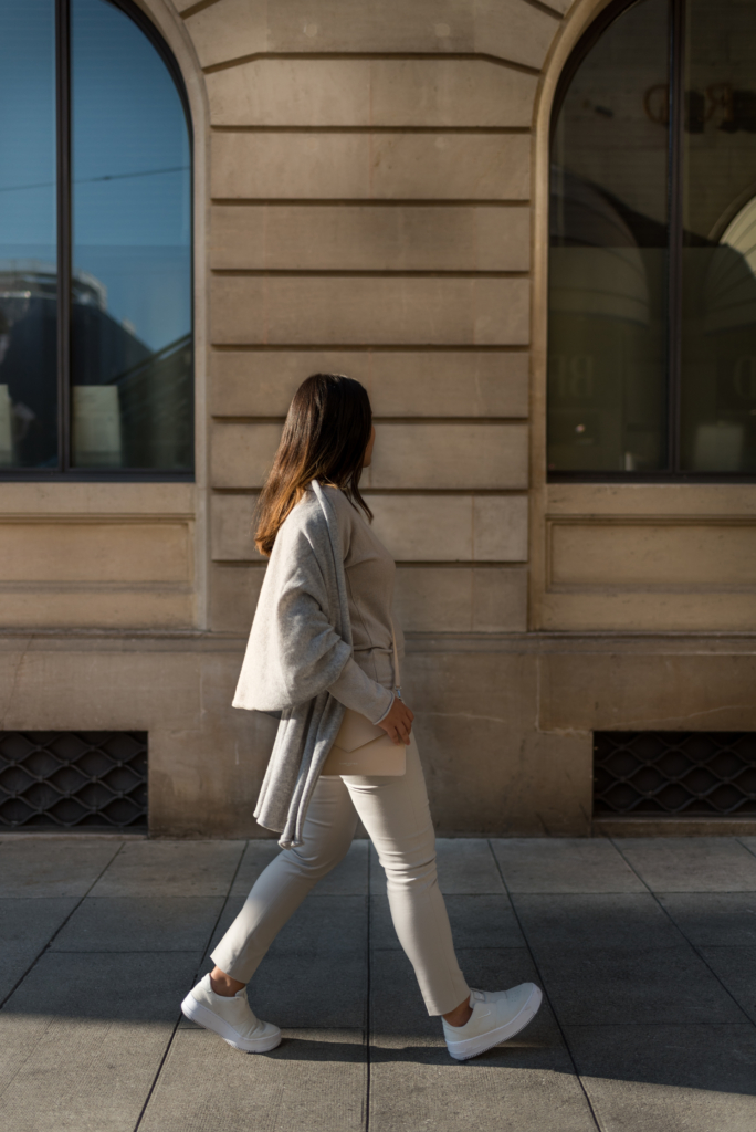 Claire Ketterer walking in Geneva with her all nude Stefanel outfit
