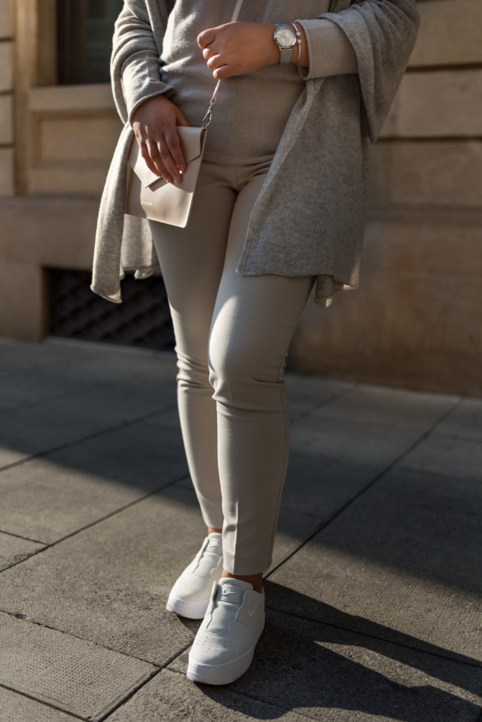 Close-up of Claire Ketterer's all nude Stefanel outfit