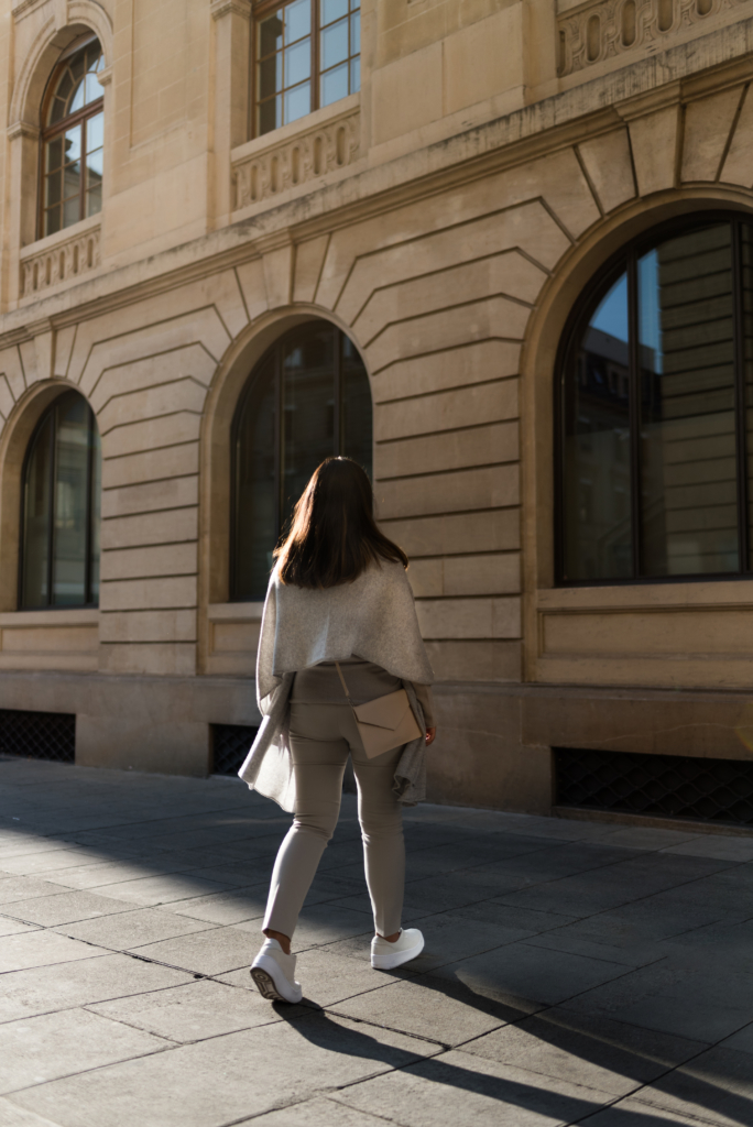 Claire Ketterer wearing an all nude Stefanel outfit
