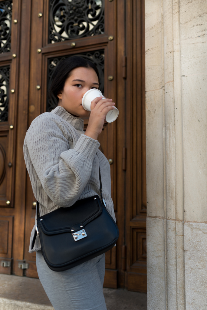 Claire Ketterer enjoying some Latte with her Stefanel outfit