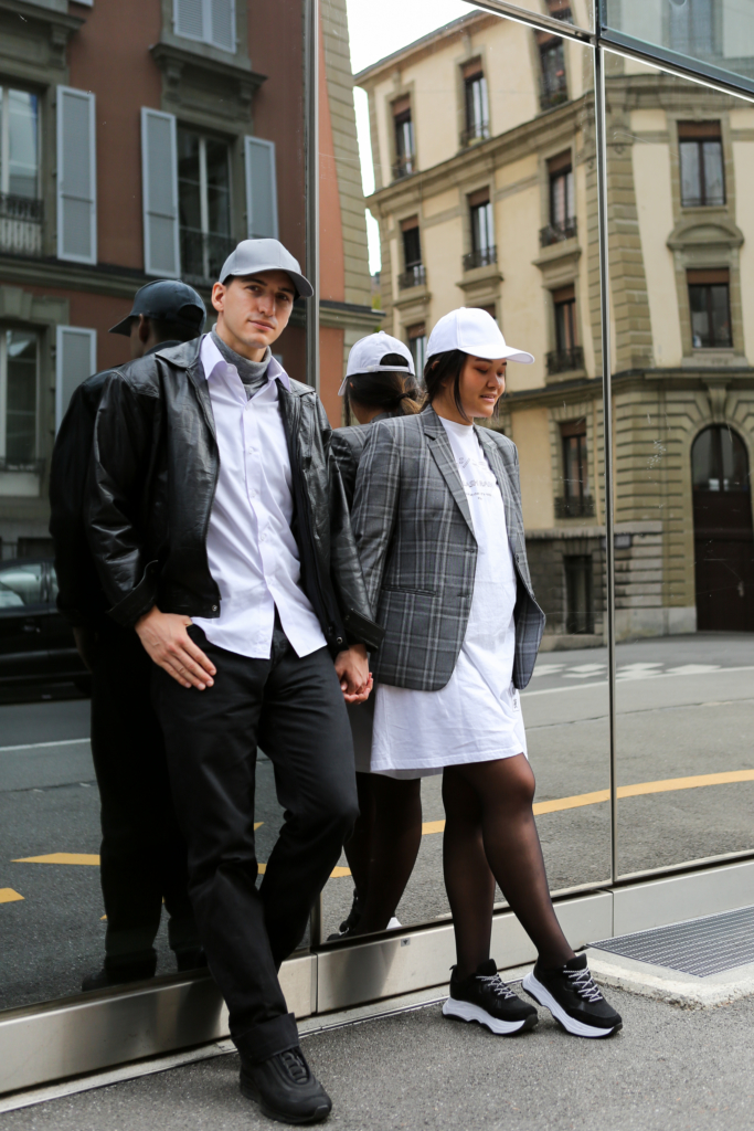 Claire Ketterer and Nicolas Moser wearing minimal outfits