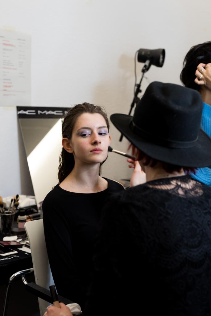 MAC Cosmetics preparing models for the HEAD 2018 fashion show