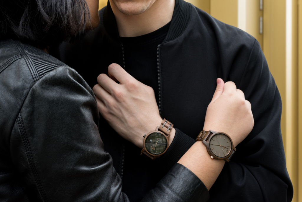 Claire Ketterer and Nicolas Moser wearing Jord watches