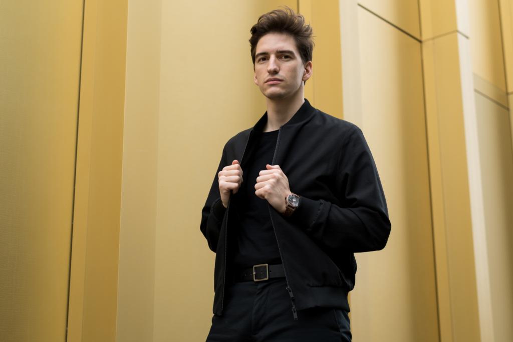 Nicolas Moser wearing a Jord watch