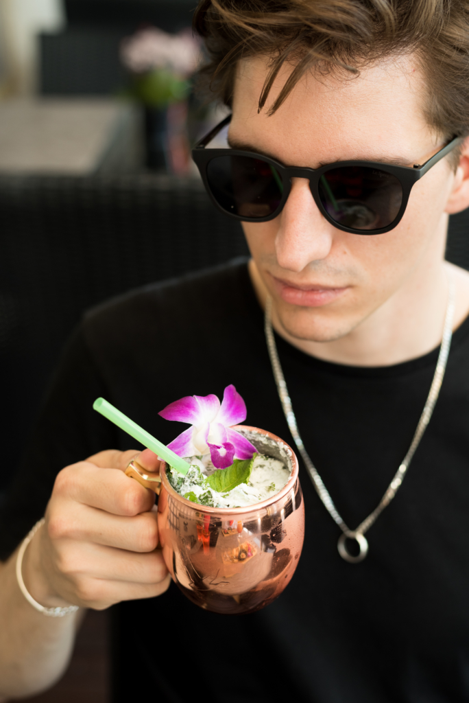 Nicolas Moser drinking a Bangkok Mule Cocktail at the Patara Restaurant