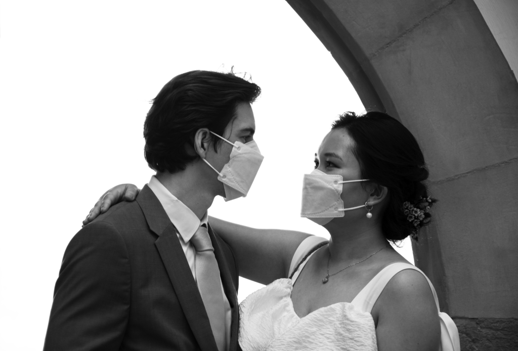 Claire and Nicolas wearing masks
