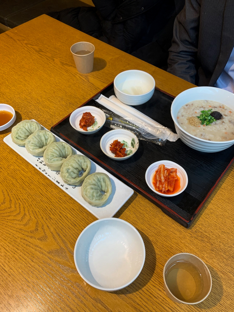 Beef congee and XXL mandus at Congee House in Seoul