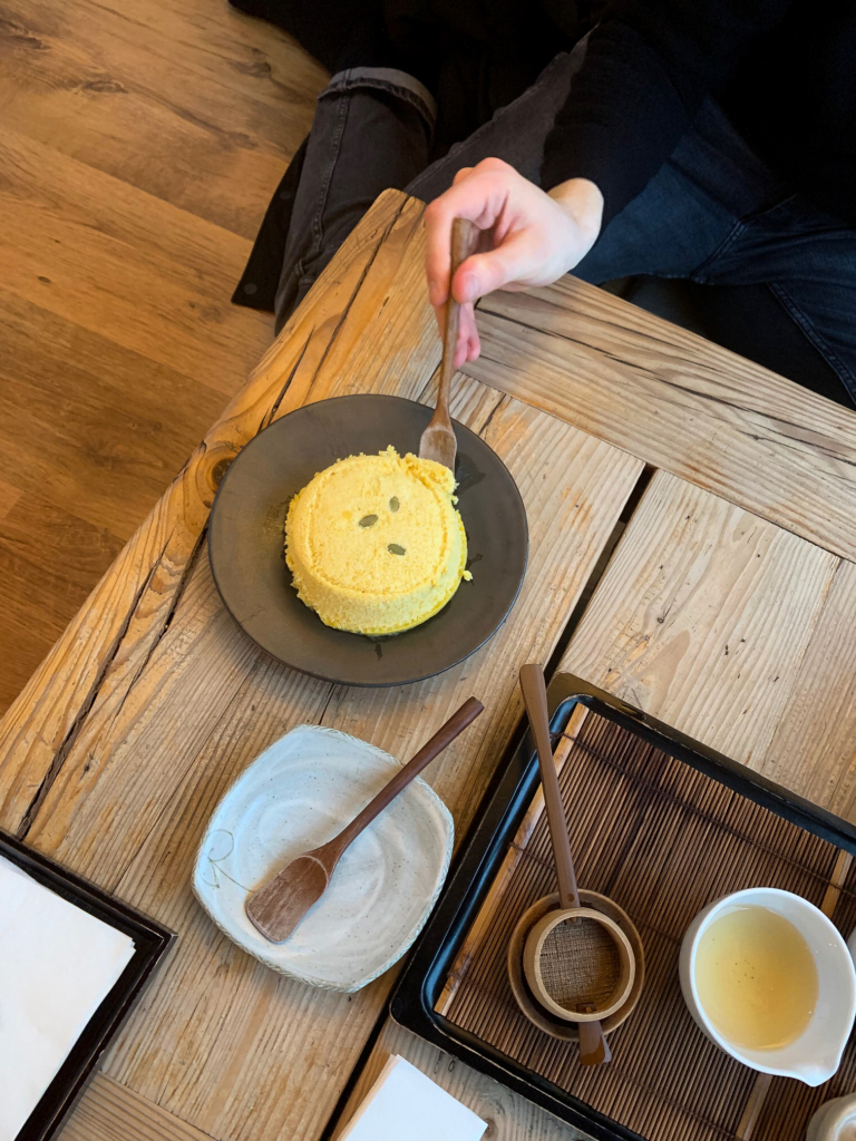 Steamed pumpkin cake at Cha'teul in Seoul