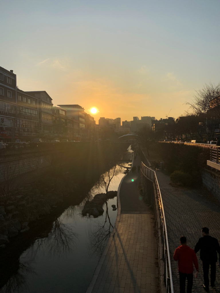 Sunset over a canal in Seoul