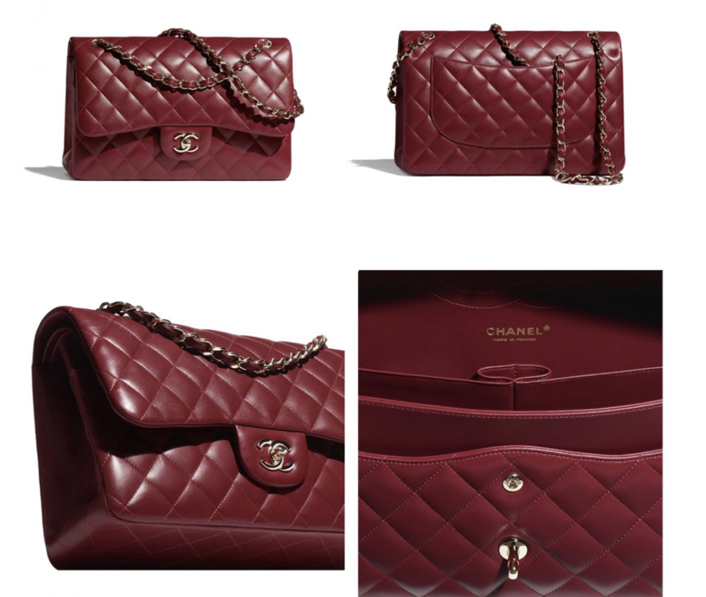 Burgundy flap bag from Chanel's Métiers d'Art 2021 collection